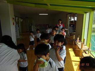 避難訓練、食育指導、不審者指導(7月13日)